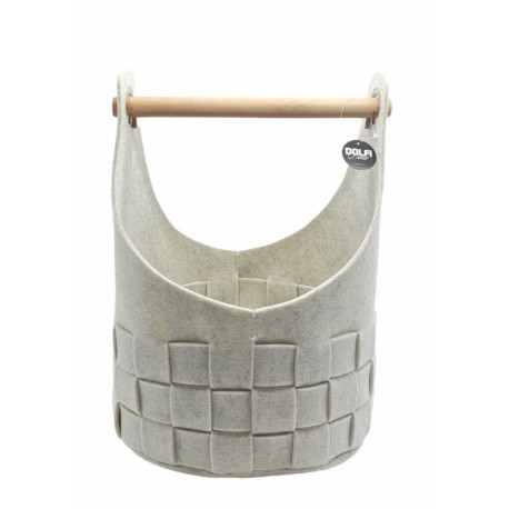 White felt basket with wooden handle