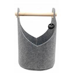 Cesta in feltro colore grigio con manico in legno