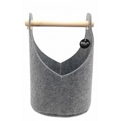 Felt basket in grey with comfortable wooden handle