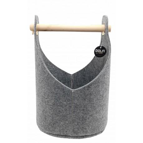 Felt basket in grey with comfortable wooden handle