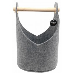 Felt basket with wooden handle colour grey