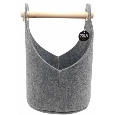 Cesto in feltro con manico in legno color grigio