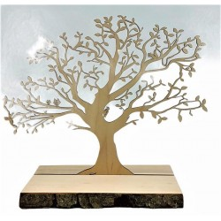 Albero su tavola di corteccia 30x26 cm