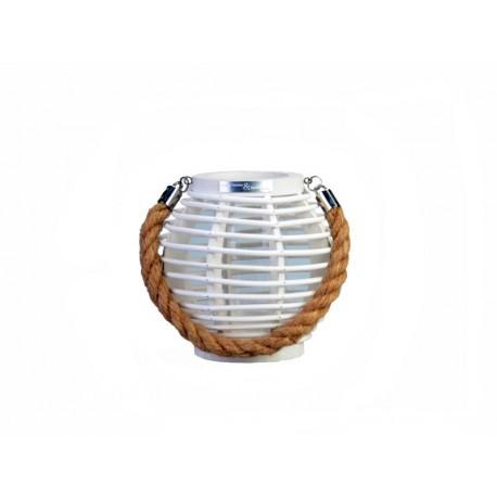White round wooden lantern
