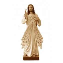 Wood Divine Mercy of Jesus Christ wood carved statue - stained 3 col.