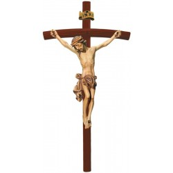 Body of Christ Jesus with Curved Dark Cross in wood carved from Ortisei Val Gardena (Italy) - Dolfi - oil colors