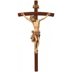 Corpo di Cristo crocifisso finemente raffigurato in legno con croce in legno curva scura - Dolfi - colori ad olio