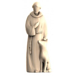 Saint Francis Modern Stile wood carved Statue - Middle brown