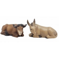 Ox and Donkey carved in maple wood