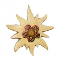 Magnete Stella alpina scolpito finemente in legno