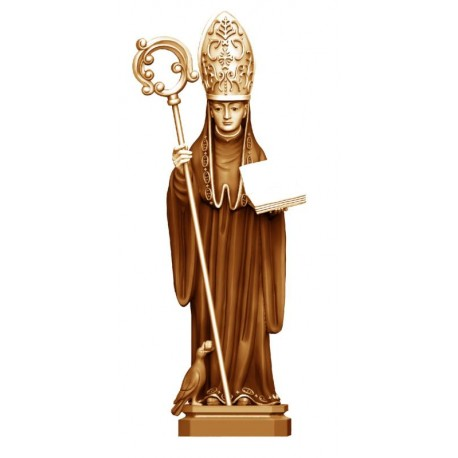 Saint Benedict of Norcia wooden Statue - stained 3 col.