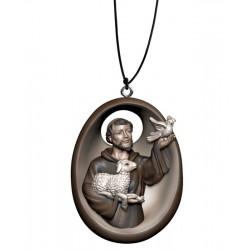 Collana con San Francesco - colorato a olio