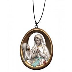 Collana Madonna di Lourdes con Bernardette - colorato a olio