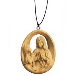 Halskette Lourdes Madonna mit Bernardette - Olive