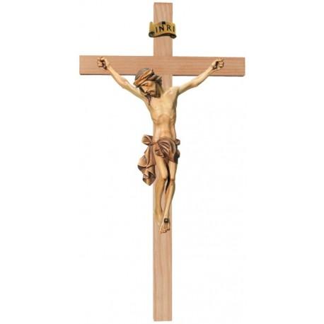 Corpo di Cristo su croce dritta scolpito in legno - brunito 3 col.