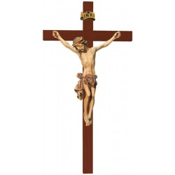 Body of Christ on Straight Cross carved in maple wood - Dolfi small Wooden Crucifix - Made in Italy - oil colors