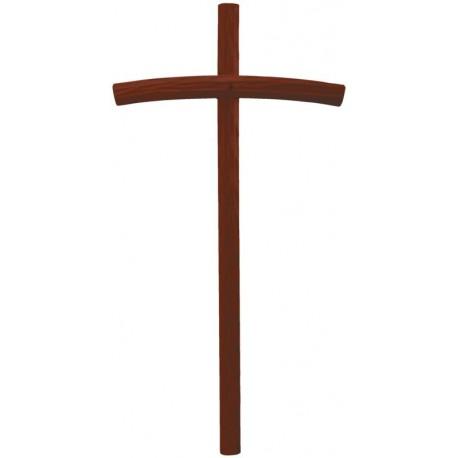 Croce curva scolpita in legno massello