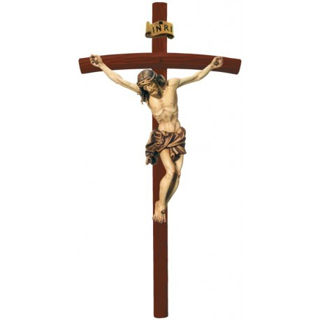 Corpo di Cristo finemente scolpito in legno pregiato - legno colorato in diverse tonalitá di marrone