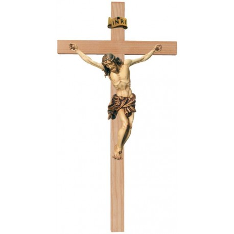 Body of Christ on Streight Cro - Wood colored in Different brown shades
