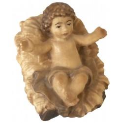 Jesu Kind mit Wiege aus Ahornholz geschnitzt, diese Holzskulptur ist eine edle Grödner Schnitzerei - Brauntöne lasiert