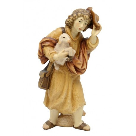 Wooden Shepherd with Sheep in arm - stained 3 col.