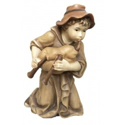 Kneeling Shepherd with bagpipe carved in maple wood  - Wood colored in Different brown shades
