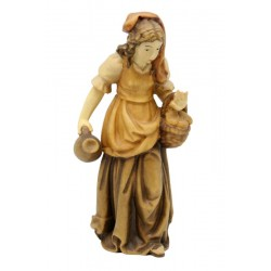 Shepherdess with basket carved in maple wood  - Wood colored in Different brown shades