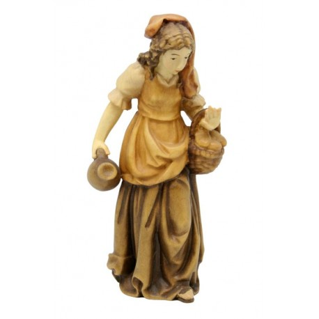 Shepherdess with Basket carved in maple wood  - Dolfi carved Nativity Sets - Made in Italy - oil colors