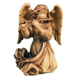 Angel with cross flute carved in maple wood  - Wood colored in Different brown shades