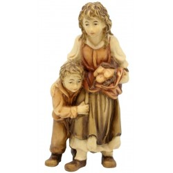 Shepherdess with Boy in wood - stained 3 col.