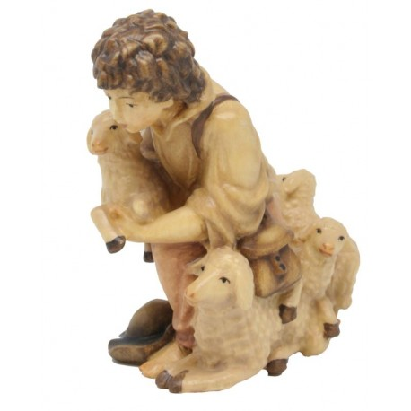 Kneeling Young Shepherd with Sheep in wood - stained 3 col.