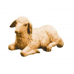 Liegendes Schaf aus Ahornholz geschnitzt, diese Holzschnitzerei ist eine edle Südtiroler Holzfigur - Brauntöne lasiert