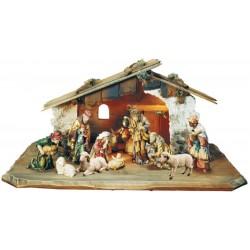 Presepe da 12 pezzi con capanna - legno colorato in diverse tonalitá di marrone