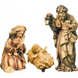 Sacra Famiglia senza capanna - legno colorato in diverse tonalitá di marrone