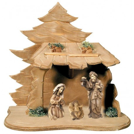 Holy Family with Stable in wood - stained 3 col.