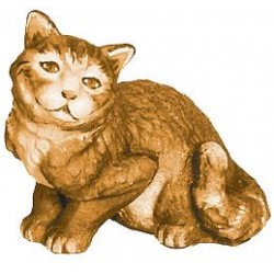 Sitting Cat - Wood colored in Different brown shades