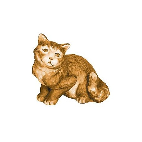 Sitting Cat carved in maple wood - stained 3 col.