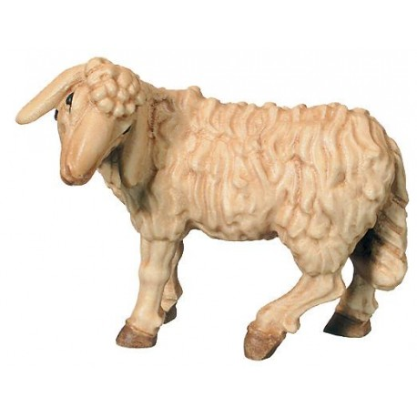 Standing Sheep carved in wood - stained 3 col.