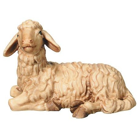 Lying wood carved Sheep - stained 3 col.