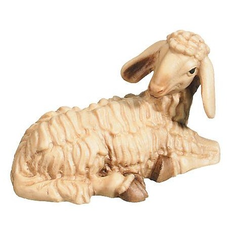 Lying Sheep carved in maple wood - stained 3 col.