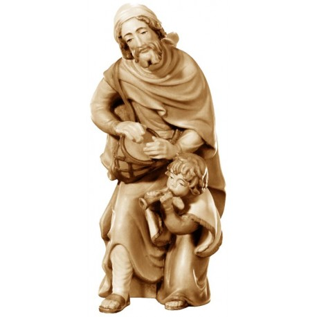 Shepherd with kid in wood nativity set art - stained 3 col.