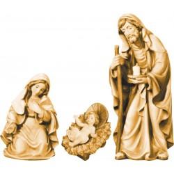 Natività gruppo Sacra Famiglia in legno - brunito 3 col.