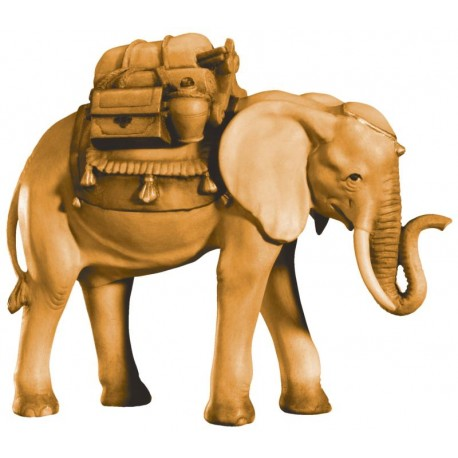 Elephant with Saddle in wood - stained 3 col.