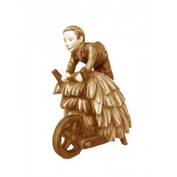 Shepherd with Cart in wood - stained 3 col.