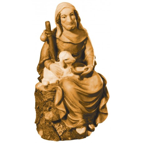 Shepherd Siting with Sheep - Dolfi Nativity Statues for Sale - Made in Italy - oil colors