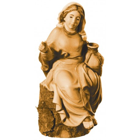 Sitting Shepherdess in wood - stained 3 col.