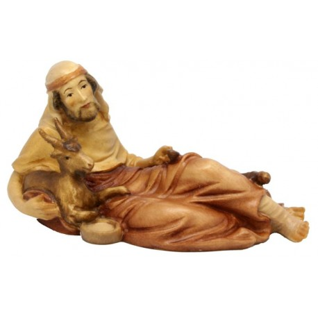 Lying Shepherd with Goat - Wood colored in Different brown shades