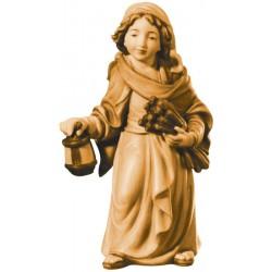 Hirtenjunge mit Korn und Laterne, diese Holzschnitzerei ist eine wichtige Südtiroler Holzfigur - Brauntöne lasiert