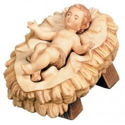 Jesuskind mit Separater Wiege aus Ahornholz geschnitzt, diese Kreation ist in Gröden hergestellt - Brauntöne lasiert