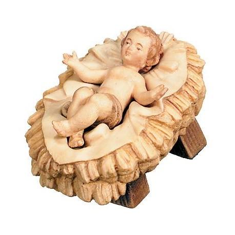 Bambino Gesù con culla scolpito raffinatamente in legno d'acero, personaggi presepe intagliate - brunito 3 col.